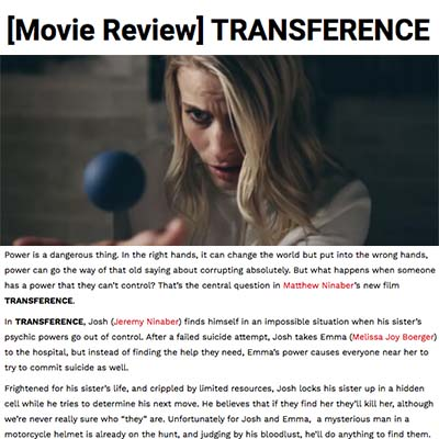 [Movie Review] TRANSFERENCE