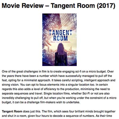 Movie Review – Tangent Room (2017)