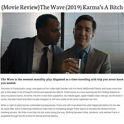 {Movie Review}The Wave (2019) Karma's A Bitch