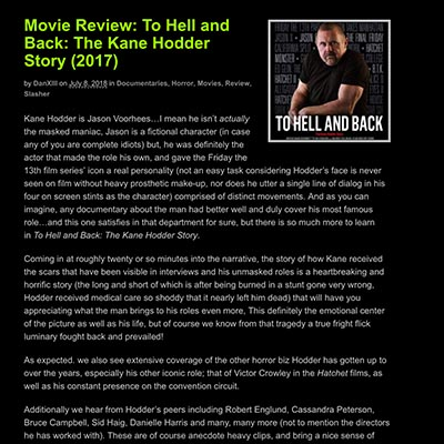 Movie Review: To Hell and Back: The Kane Hodder Story