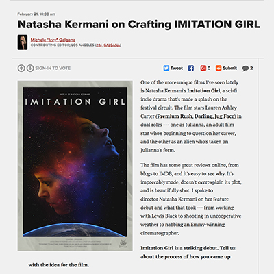 Natasha Kermani on Crafting IMITATION GIRL