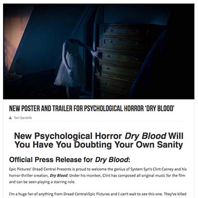 New Poster and Trailer for Psychological Horror 'Dry Blood'