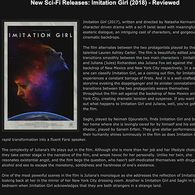 New Sci-Fi Releases: Imitation Girl (2018) - Reviewed