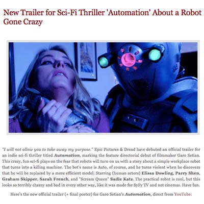 New Trailer for Sci-Fi Thriller 'Automation' About a Robot Gone Crazy