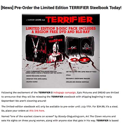 [News] Pre-Order the Limited Edition TERRIFIER Steelbook Today!