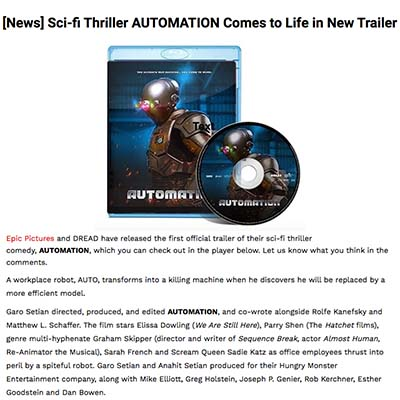 [News] Sci-fi Thriller AUTOMATION Comes to Life in New Trailer