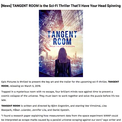 [News] TANGENT ROOM is the Sci-Fi Thriller That'll Have Your Head Spinning