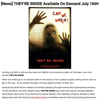 [News] THEY'RE INSIDE Available On Demand July 16th!