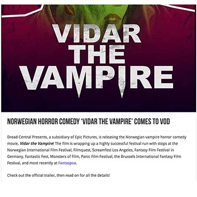 Norwegian Horror Comedy 'Vidar The Vampire' Comes To VOD
