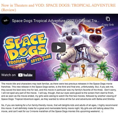 Now in Theaters and VOD: SPACE DOGS: TROPICAL ADVENTURE (Review)