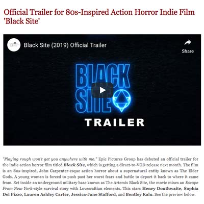 Official Trailer for 80s-Inspired Action Horror Indie Film 'Black Site'