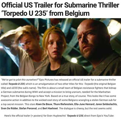 Official US Trailer for Submarine Thriller 'Torpedo U 235' from Belgium (2020)