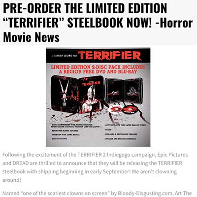 "PRE-ORDER THE LIMITED EDITION ""TERRIFIER"" STEELBOOK NOW! -Horror Movie News"