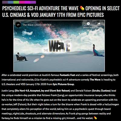 PSYCHEDELIC SCI-FI ADVENTURE THE WAVE 💊 OPENING IN SELECT U.S. CINEMAS & VOD JANUARY 17TH FROM EPIC PICTURES