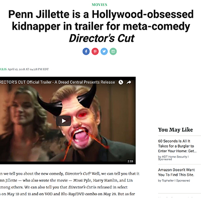 Penn Jillette is a Hollywood-obsessed kidnapper in trailer for meta-comedy Director's Cut