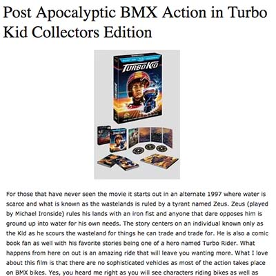 Post Apocalyptic BMX Action in Turbo Kid Collectors Edition