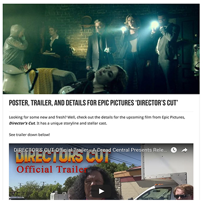 Poster, Trailer, and Details for Epic Pictures 'Director's Cut