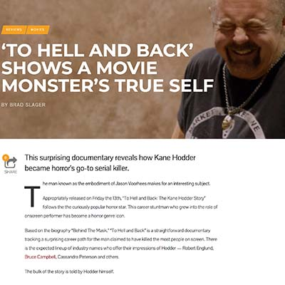 REVIEWSMOVIES 'TO HELL AND BACK' SHOWS A MOVIE MONSTER'S TRUE SELF