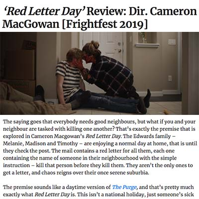 'Red Letter Day' Review: Dir. Cameron MacGowan [Frightfest 2019]