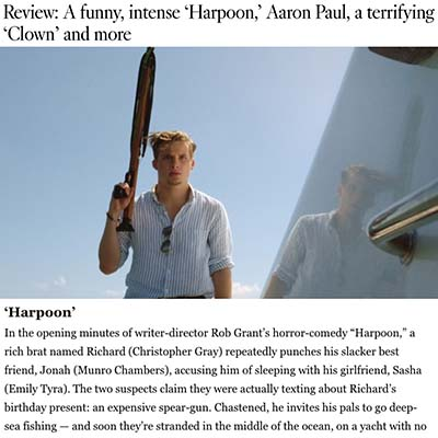 Review: A funny, intense 'Harpoon,' Aaron Paul, a terrifying 'Clown' and more