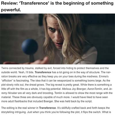 Review: 'Transference' is the beginning of something powerful.