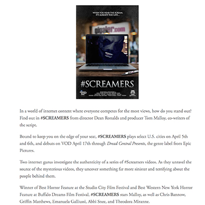 #SCREAMERS TO DEBUT EVERYWHERE APRIL 17TH