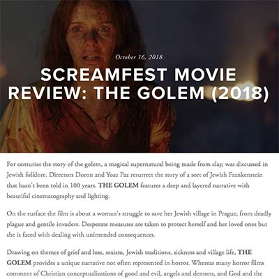 SCREAMFEST MOVIE REVIEW: THE GOLEM (2018)
