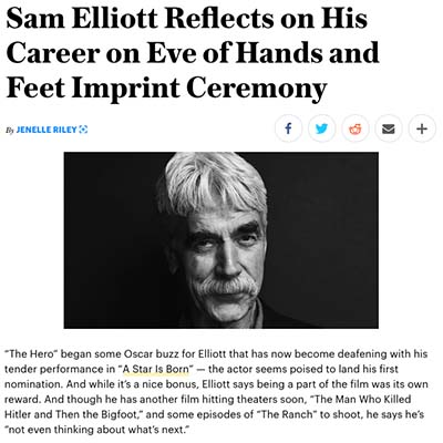 Sam Elliott Reflects on His Career on Eve of Hands and Feet Imprint Ceremony