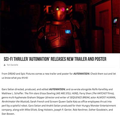 Sci-Fi Thriller 'AUTOMATION' Releases New Trailer and Poster