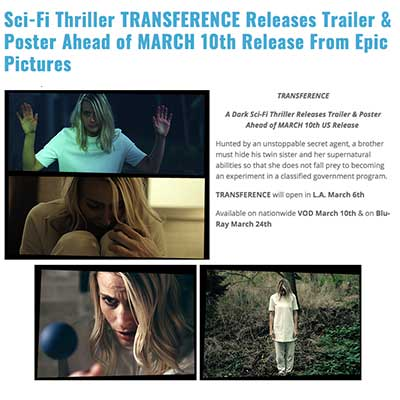 Sci-Fi Thriller TRANSFERENCE Releases Trailer & Poster Ahead of MARCH 10th Release From Epic Pictures