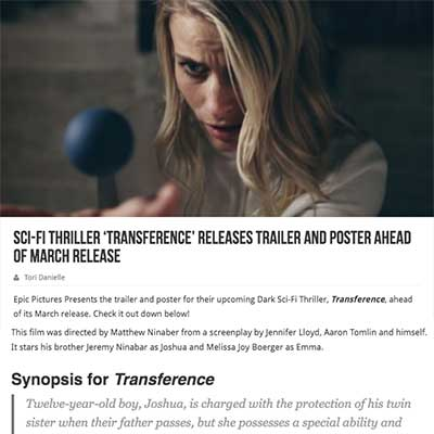 Sci-Fi Thriller 'Transference' Releases Trailer and Poster Ahead of March Release