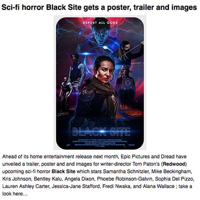 Sci-fi horror Black Site gets a poster, trailer and images
