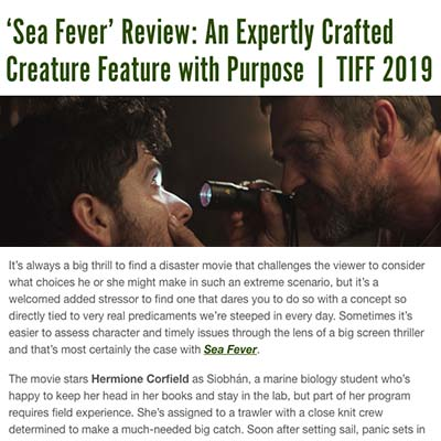 'Sea Fever' Review: An Expertly Crafted Creature Feature with Purpose | TIFF 2019