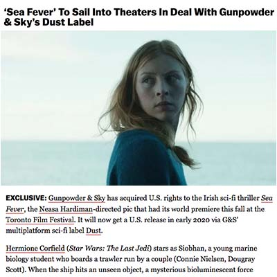 'Sea Fever' To Sail Into Theaters In Deal With Gunpowder & Sky's Dust Label