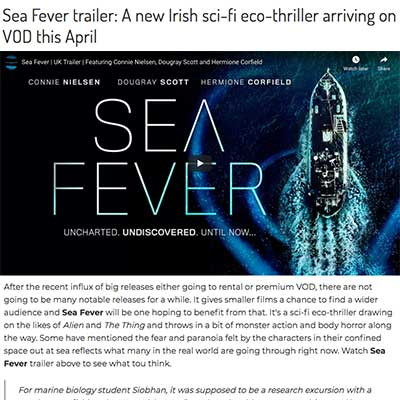 Sea Fever trailer: A new Irish sci-fi eco-thriller arriving on VOD this April