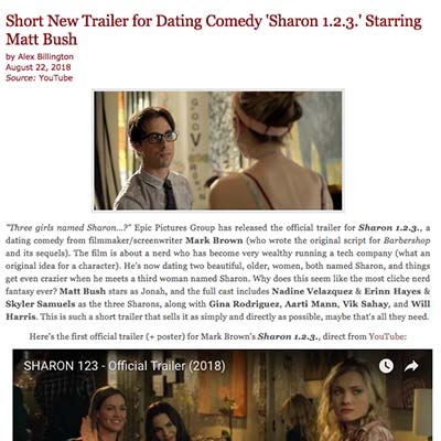 Short New Trailer for Dating Comedy 'Sharon 1.2.3.' Starring Matt Bush