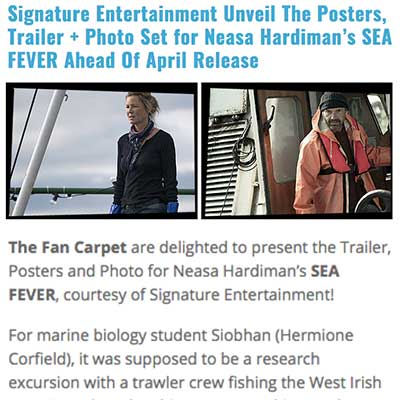 Signature Entertainment Unveil The Posters, Trailer + Photo Set for Neasa Hardiman's SEA FEVER Ahead Of April Release