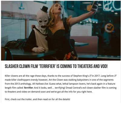 Slasher Clown Film 'Terrifier' is Coming To Theaters and VOD!