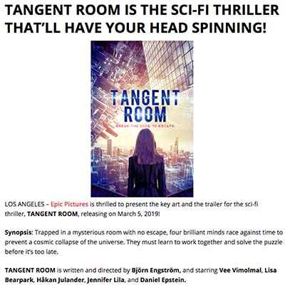 TANGENT ROOM IS THE SCI-FI THRILLER THAT'LL HAVE YOUR HEAD SPINNING!