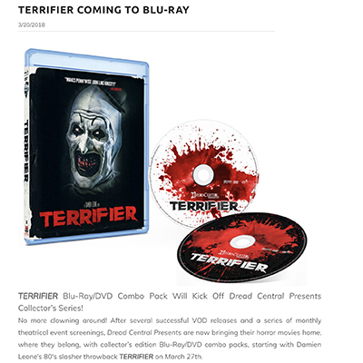 TERRIFIER COMING TO BLU-RAY