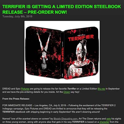 TERRIFIER IS GETTING A LIMITED EDITION STEELBOOK RELEASE – PRE-ORDER NOW!