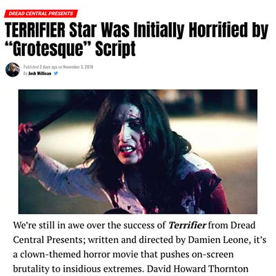 "TERRIFIER Star Was Initially Horrified by ""Grotesque"" Script"