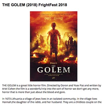 THE GOLEM (2018) FrightFest 2018