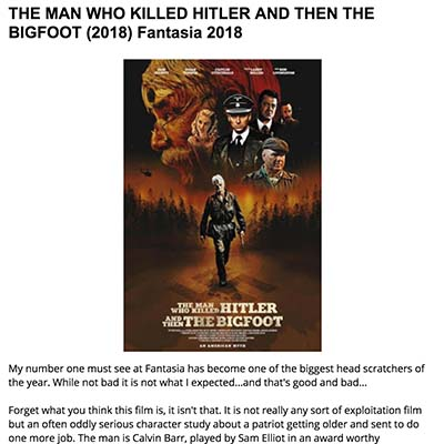 THE MAN WHO KILLED HITLER AND THEN THE BIGFOOT (2018) Fantasia 2018