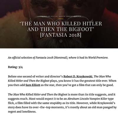 'THE MAN WHO KILLED HITLER AND THEN THE BIGFOOT' [FANTASIA 2018]