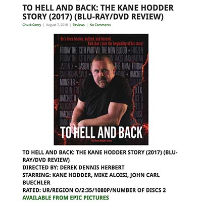 TO HELL AND BACK: THE KANE HODDER STORY (2017) (BLU-RAY/DVD REVIEW)