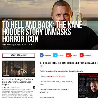 TO HELL AND BACK: THE KANE HODDER STORY OPENS ON ACTOR'S HARROWING LIFE