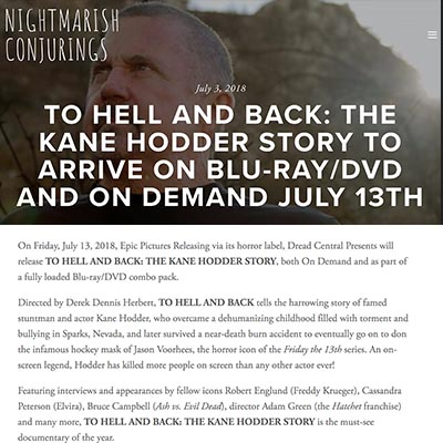 TO HELL AND BACK: THE KANE HODDER STORY TO ARRIVE ON BLU-RAY/DVD AND ON DEMAND JULY 13TH