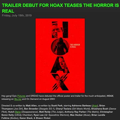 TRAILER DEBUT FOR HOAX TEASES THE HORROR IS REAL