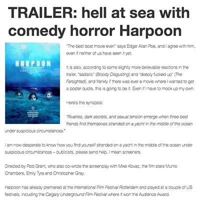 TRAILER: hell at sea with comedy horror Harpoon